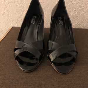 Black Patent Leather Peep Toe Wedge